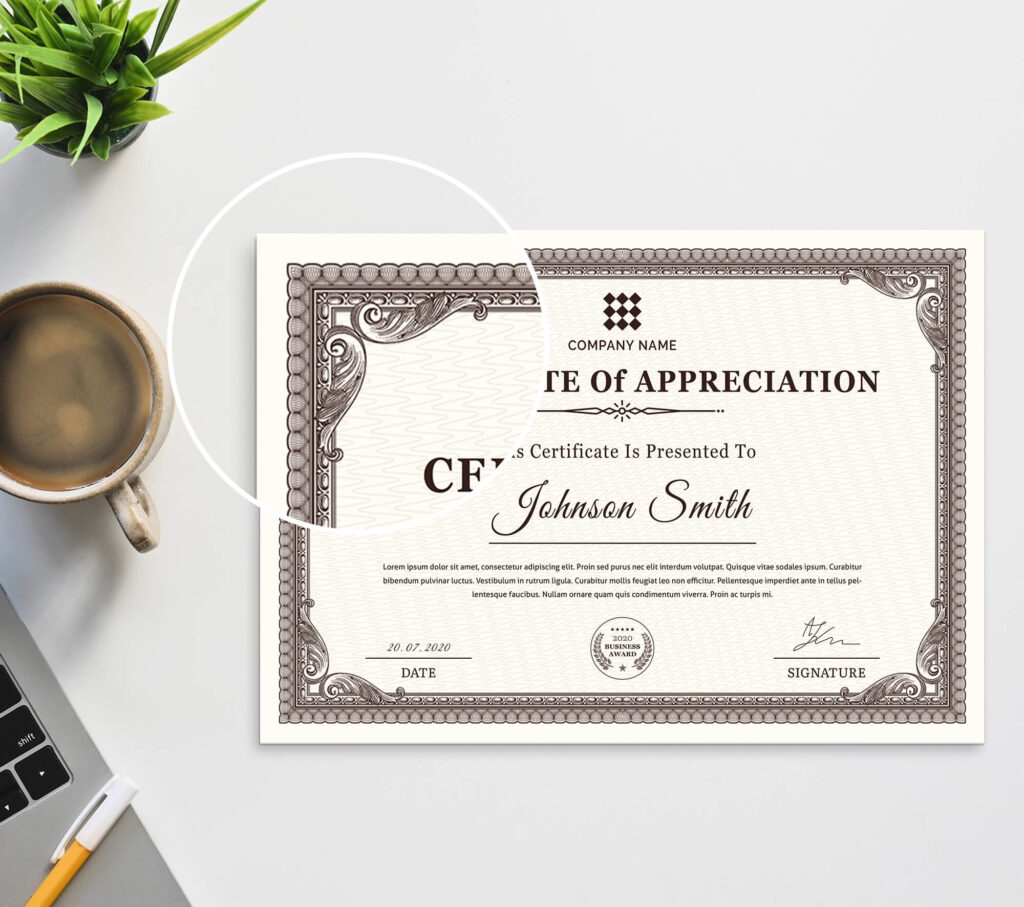 Close Up of a Free Certificate Mockup PSD Template