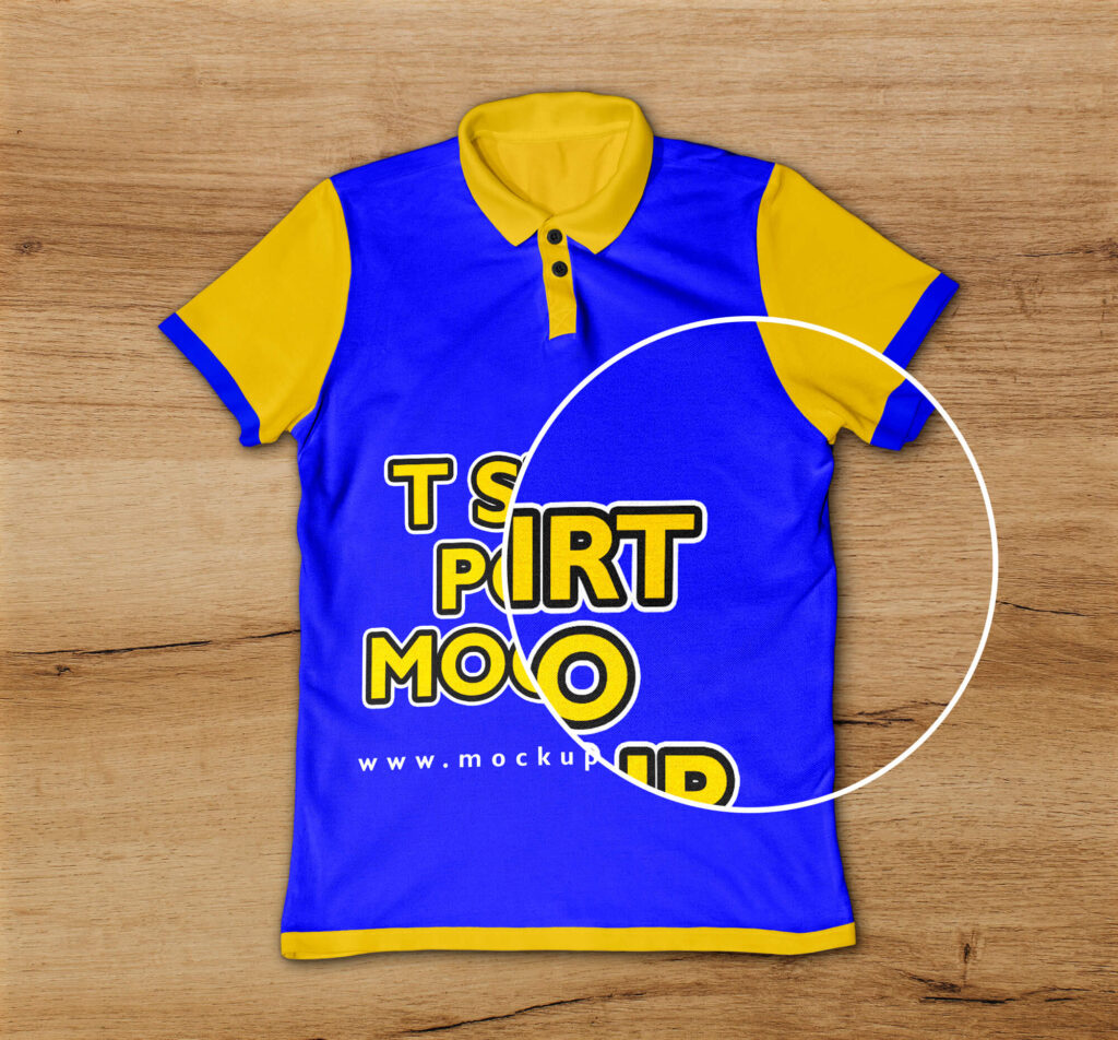 Close Up of a Free T Shirt Polo Mockup PSD Template