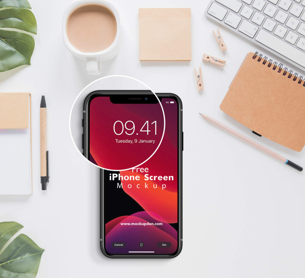 Close Up of a Free iPhone Screen Mockup PSD Template