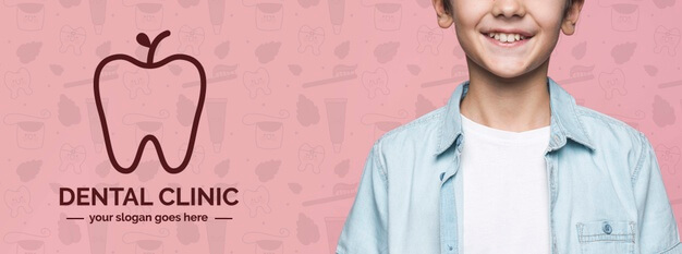 Dental clinic young cute boy mock-up Free Psd