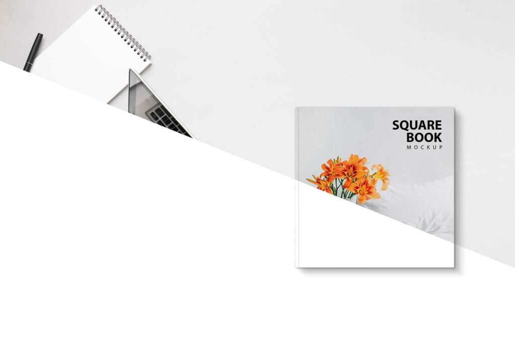 Editable Free Square Book Mockup PSD Template