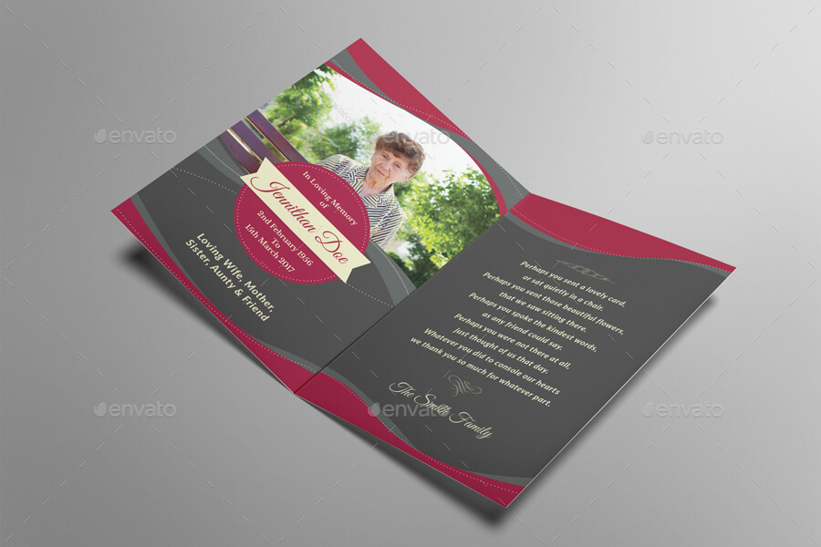 Elegant Funeral Programe Thank You Card Template (1)