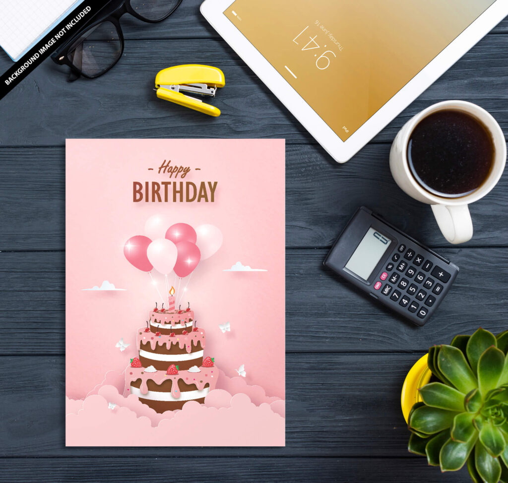Free Birthday Card Mockup PSD Template