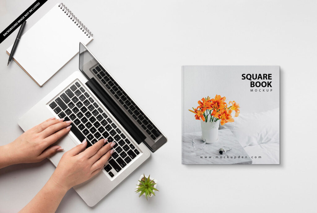 Free Square Book Mockup PSD Template