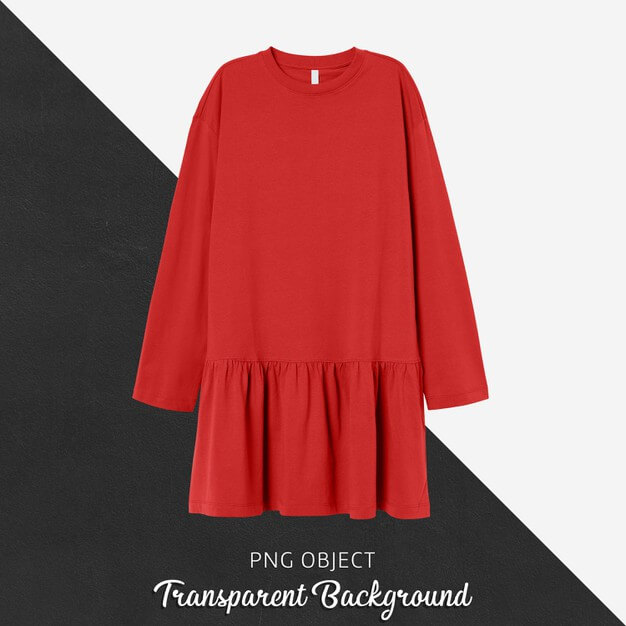 Front view of red woman dress mockup Premium Psd
