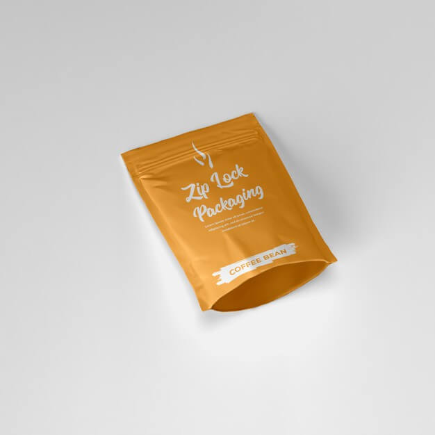 Matte ziplock pouch coffee powder container laying down mockup Premium Psd (1)
