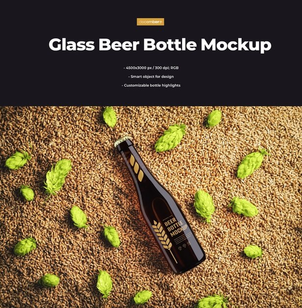 Mockup of a glass beer bottle lying on hops and wheat Premium Psd (1)