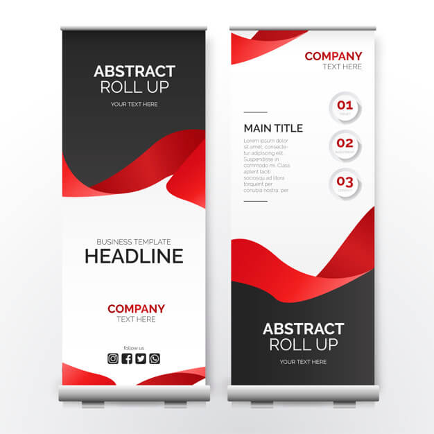 Modern roll up banner with red ribbon Free Vector