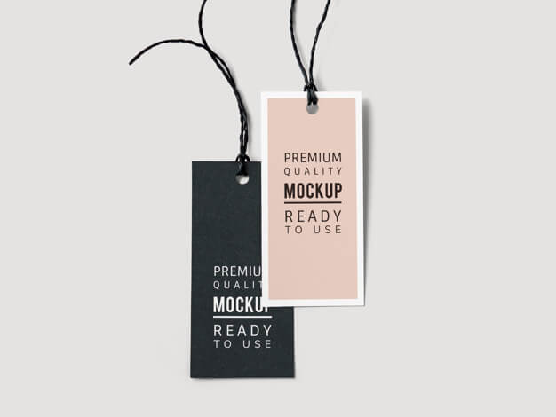 Pair of fashion label tag mockups Free Psd (1)