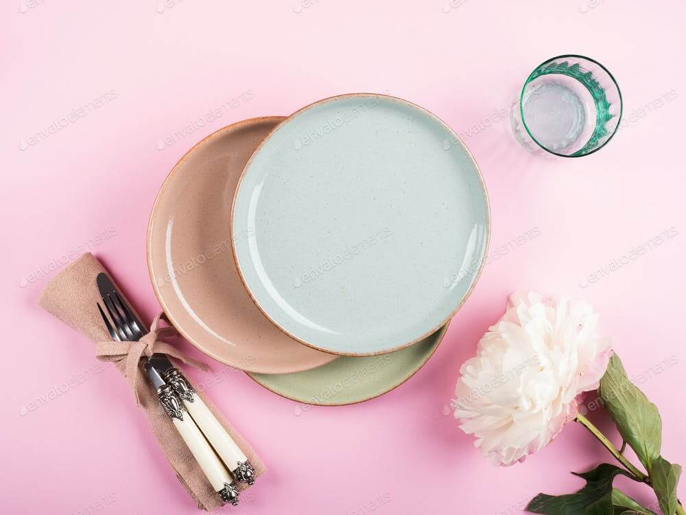 Pastel color dishes on pink (1)