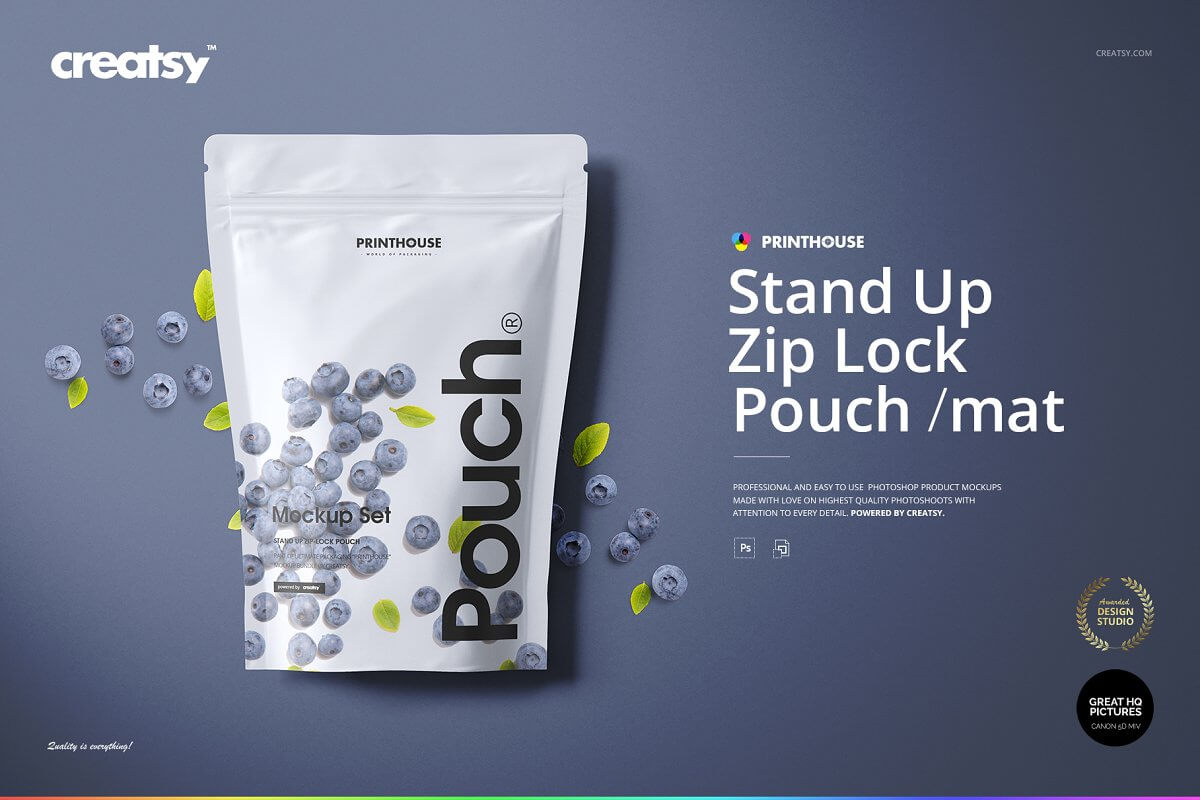 Stand Up Pouch (mat) Mockup Set