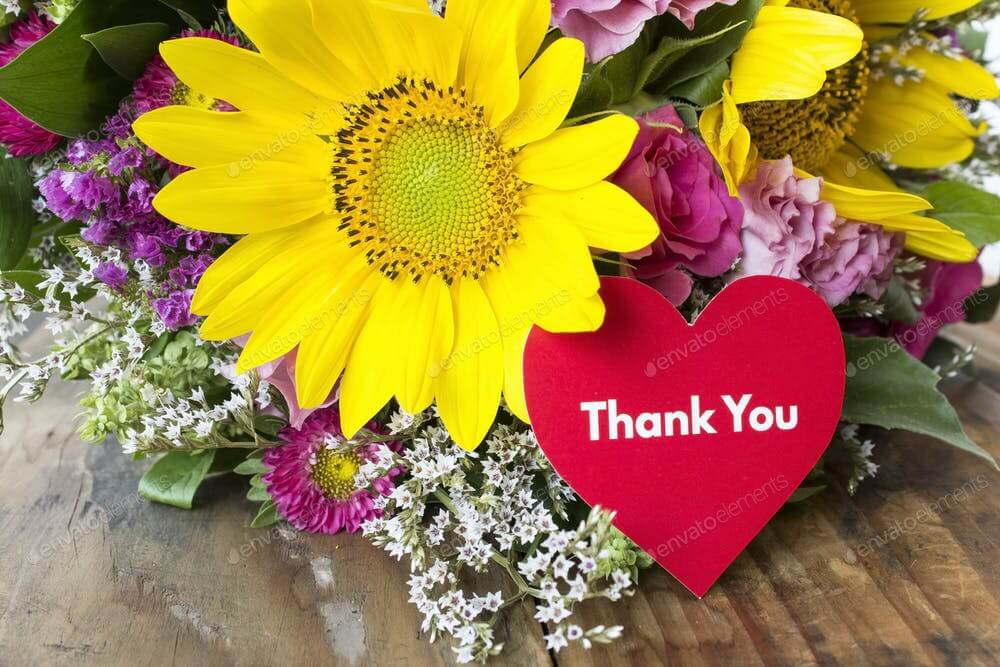 Thank You Card with Bouquet of Summer Flowers (1)