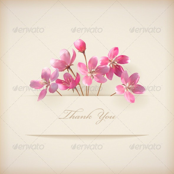 Thank You Card with Pink Flowers