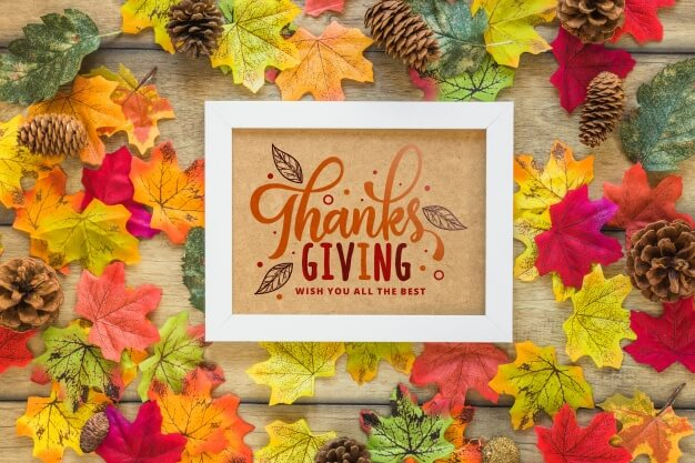 Thanksgiving mockup with frame Free Psd (1)