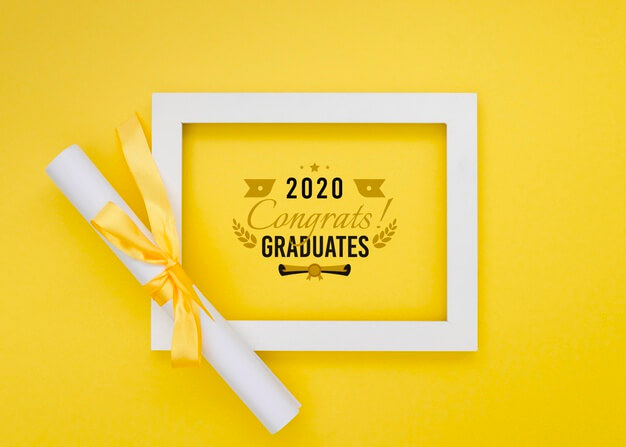Top view graduation frame with mock-up Free Psd (1)