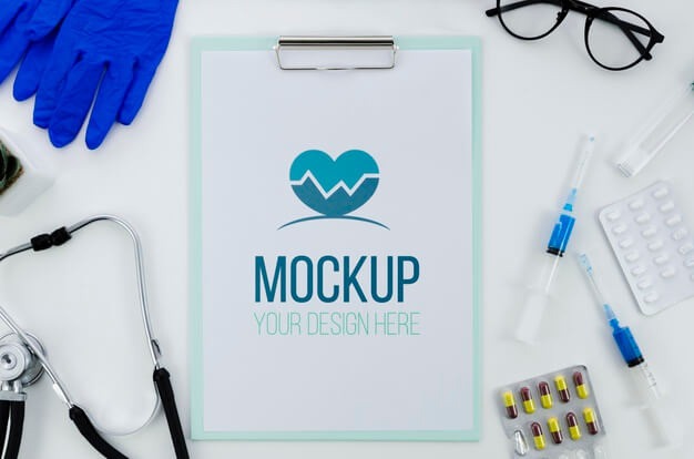 Top view medical concept with mock-up Free Psd (2)