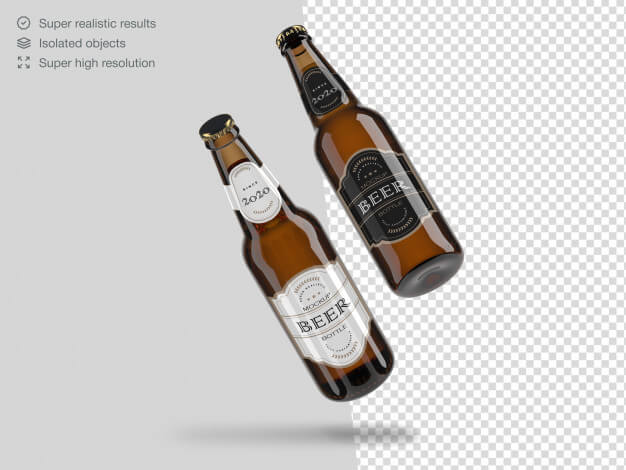 Two realistic floating beer bottles mockup template Premium Psd (1)