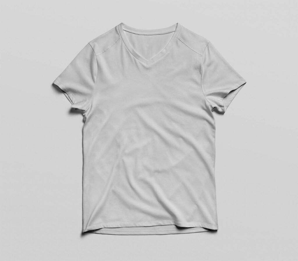 White Free V Neck T Shirt Mockup PSD Template