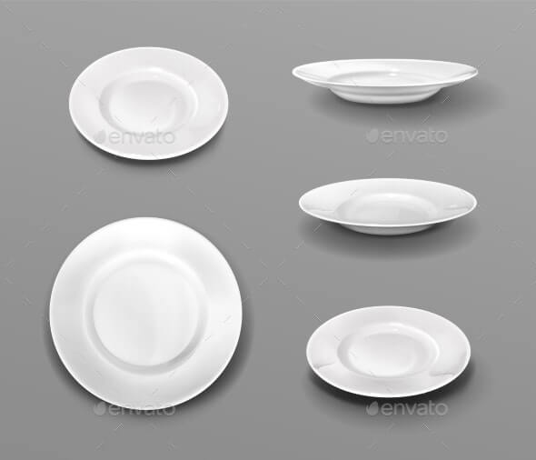 White Plates, Realistic 3d Ceramic Dishes Top View (1)