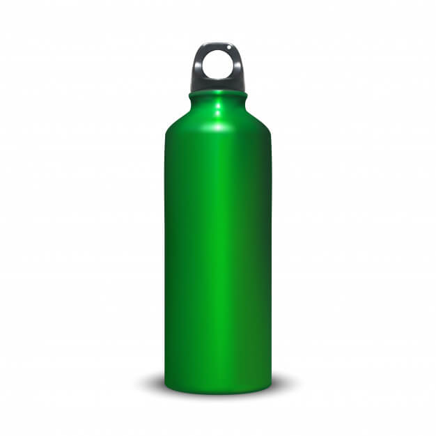 Aluminum bottle illustration of sport aluminum water container with plastic ring bung. Free Vector