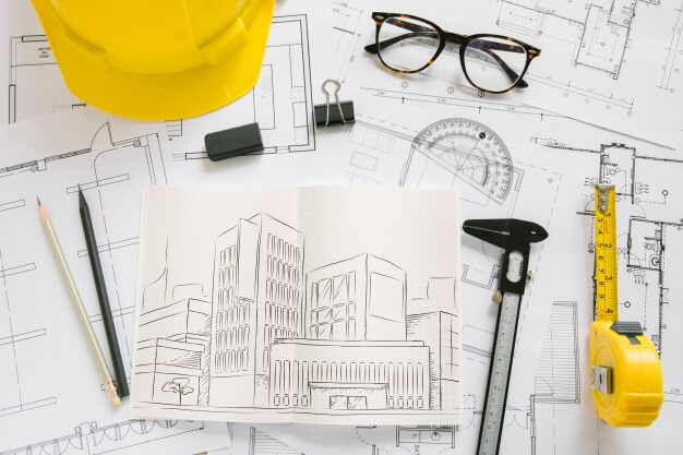 Architecture composition with paper mockup Free Psd