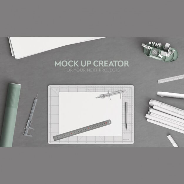 Architecture office desktop in top view Free Psd