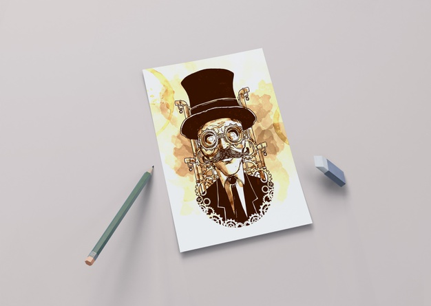 Artistic draw on sheet with pencil Free Psd