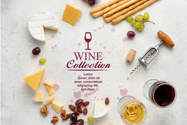 Cheese and wine circle shape Free Psd