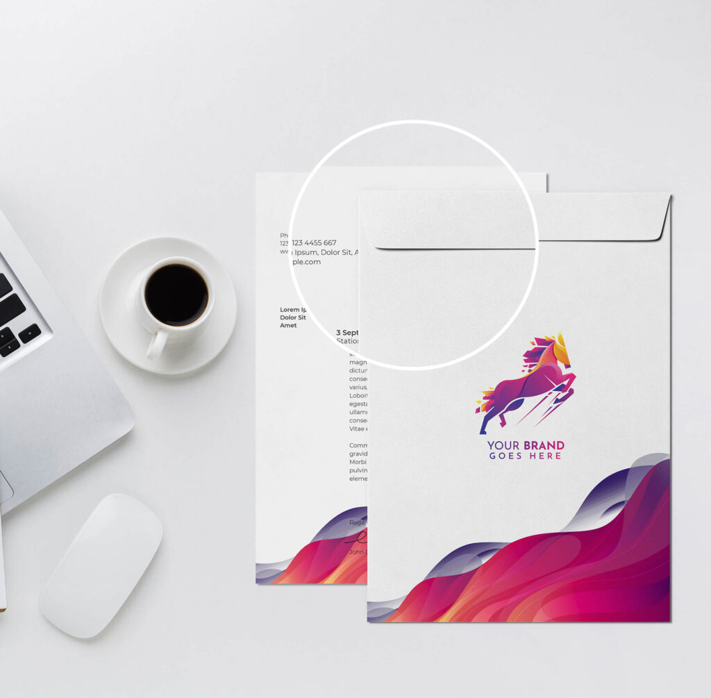 Close Up Of a Free A4 Envelope Mockup PSD Template