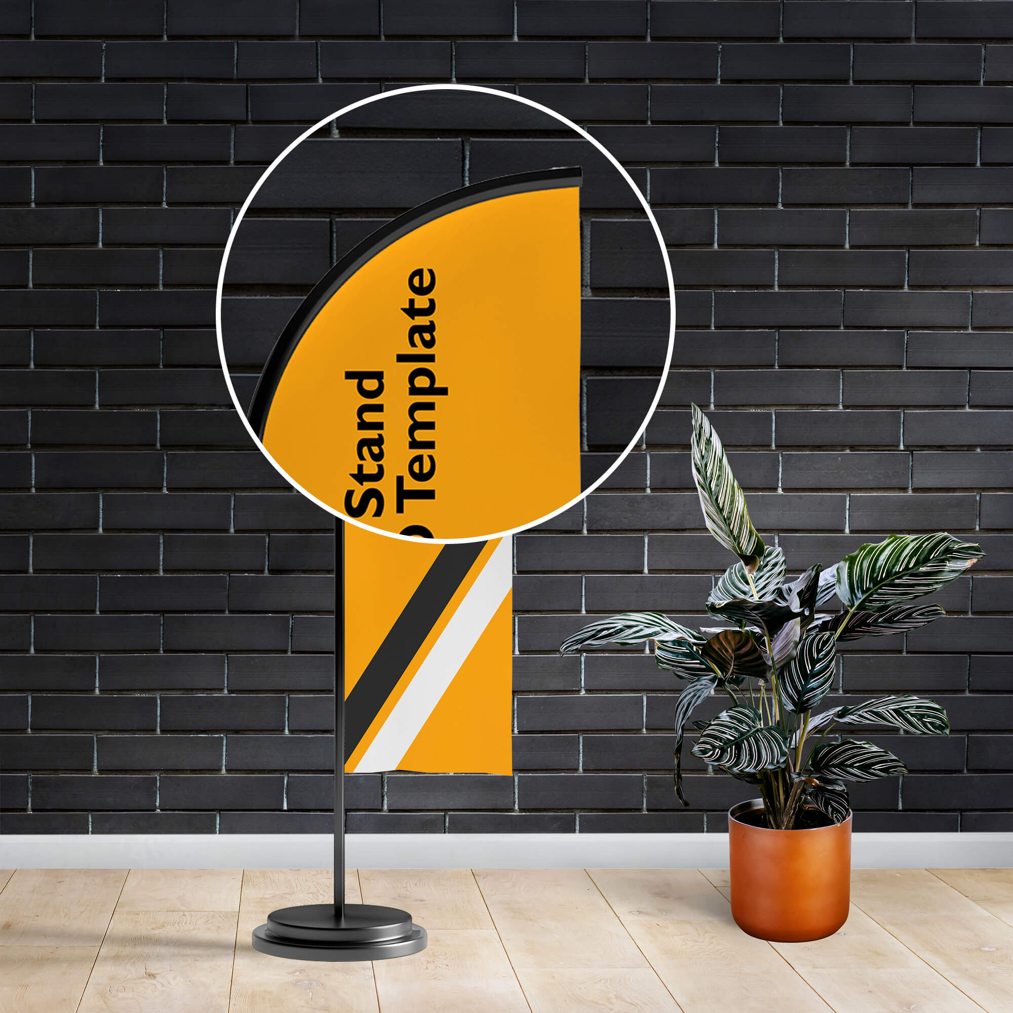 Close Up Of a Free Banner Stand Mockup PSD Template