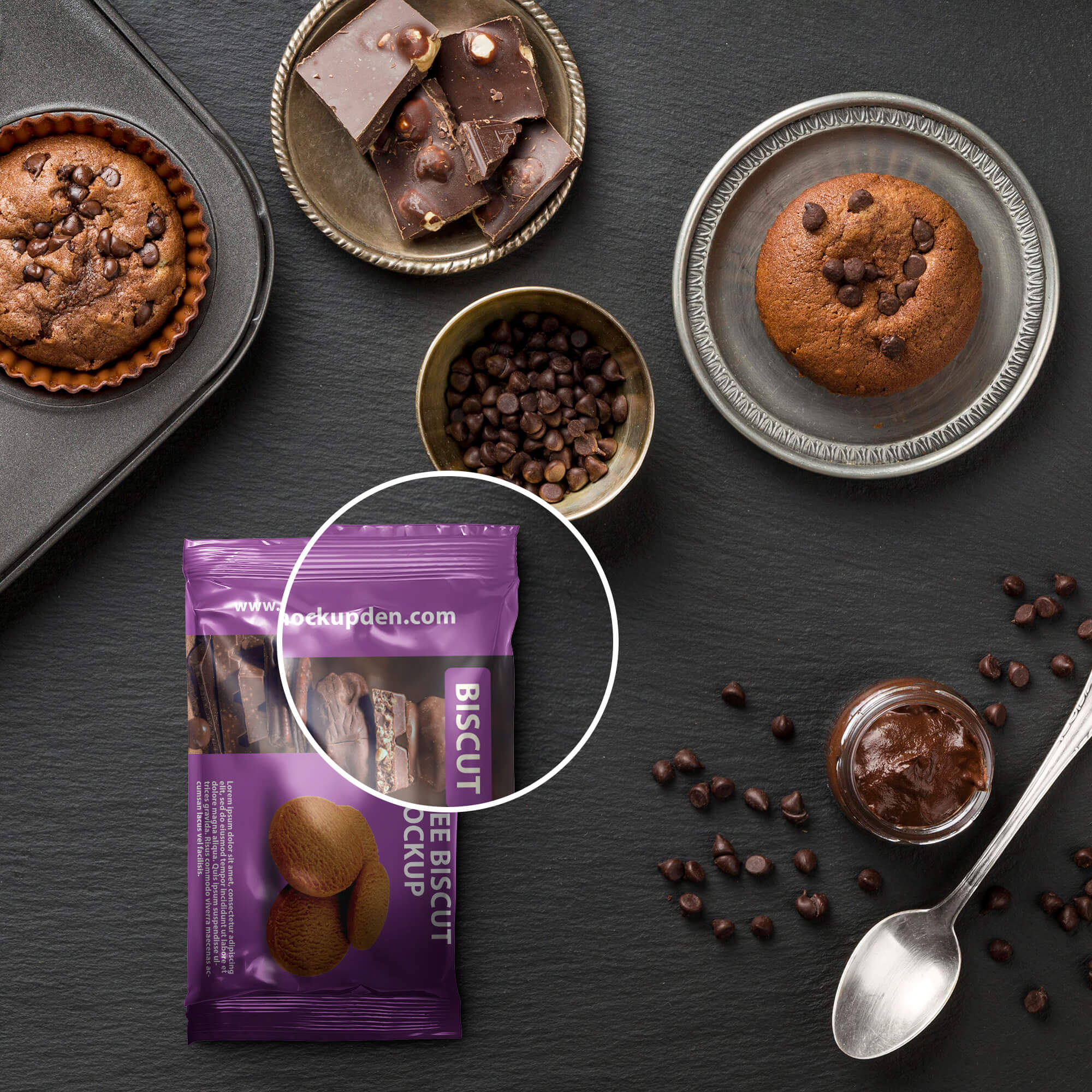 Close Up Of a Free Biscuit Mockup PSD Template
