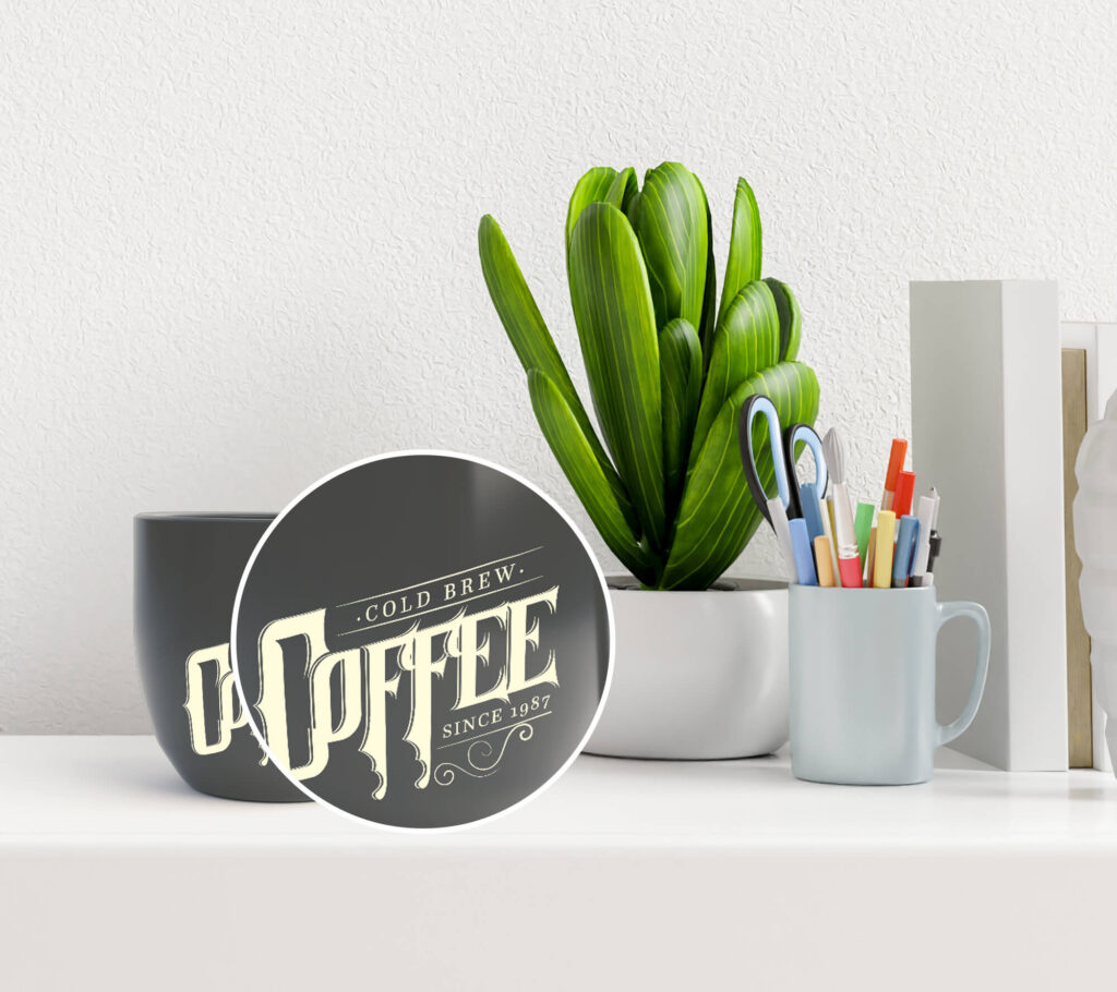 Close Up Of a Free Black Cup Mockup PSD Template