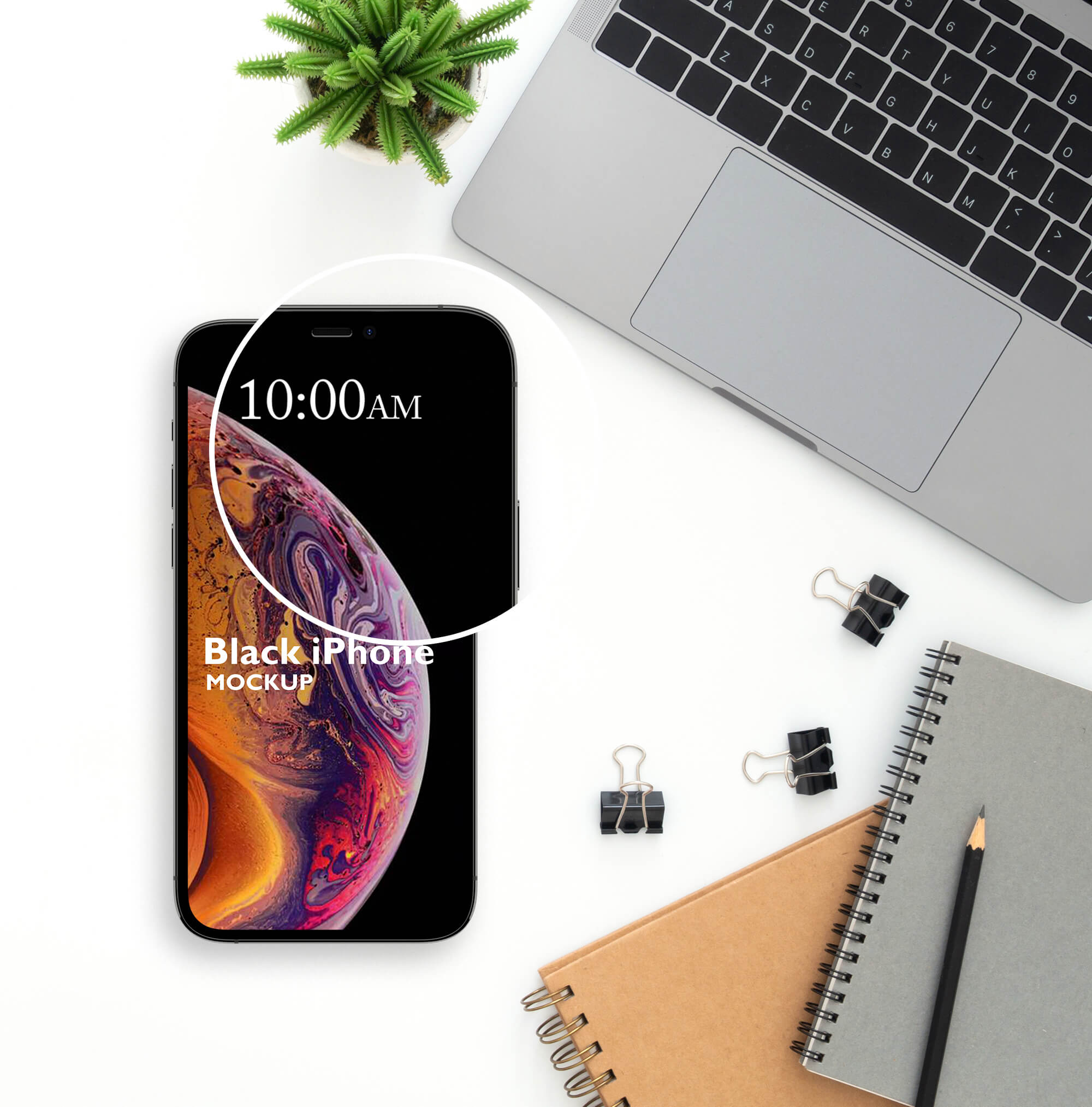 Close Up Of a Free Black iPhone Mockup PSD Template