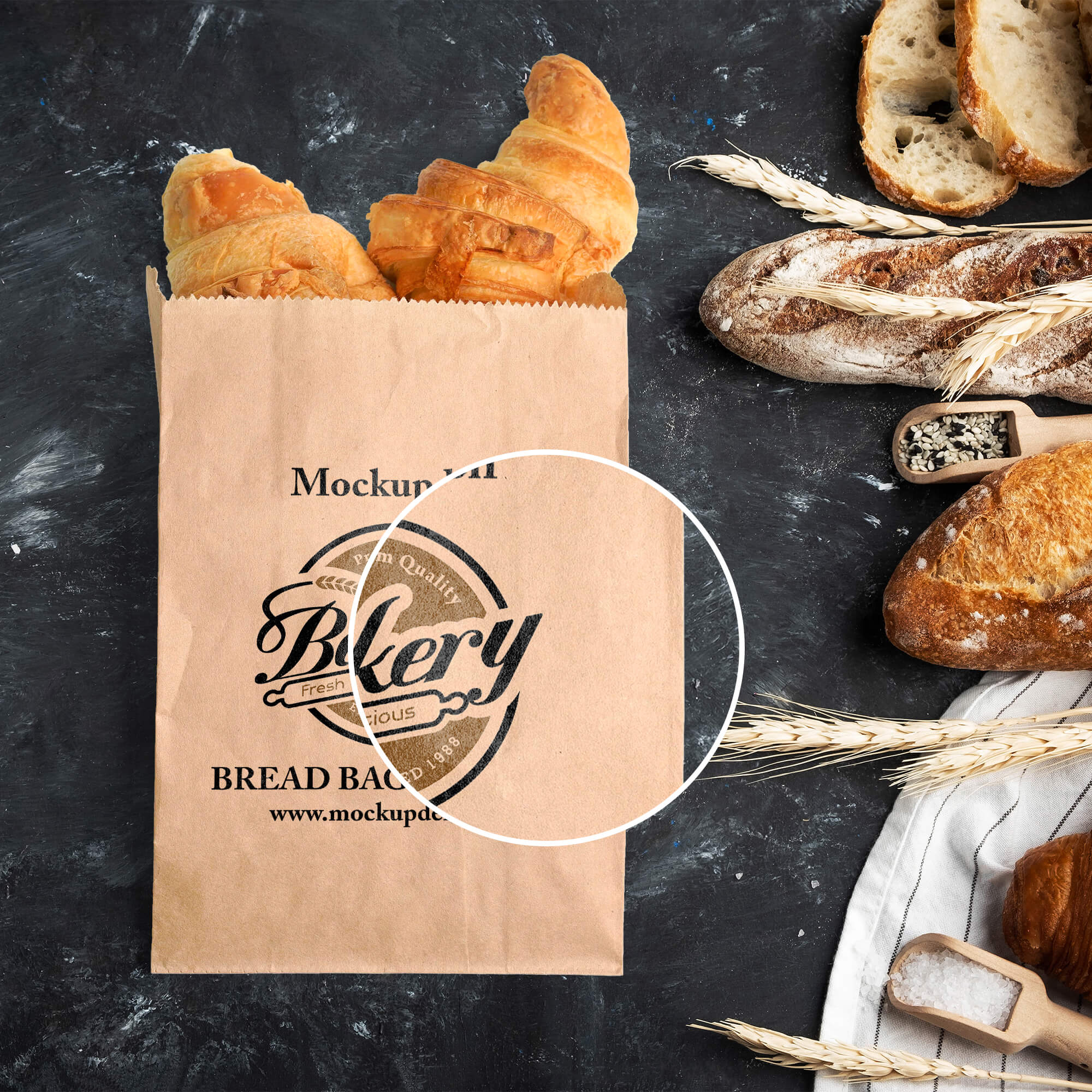 Close Up Of a Free Bread Bag Mockup PSD Template