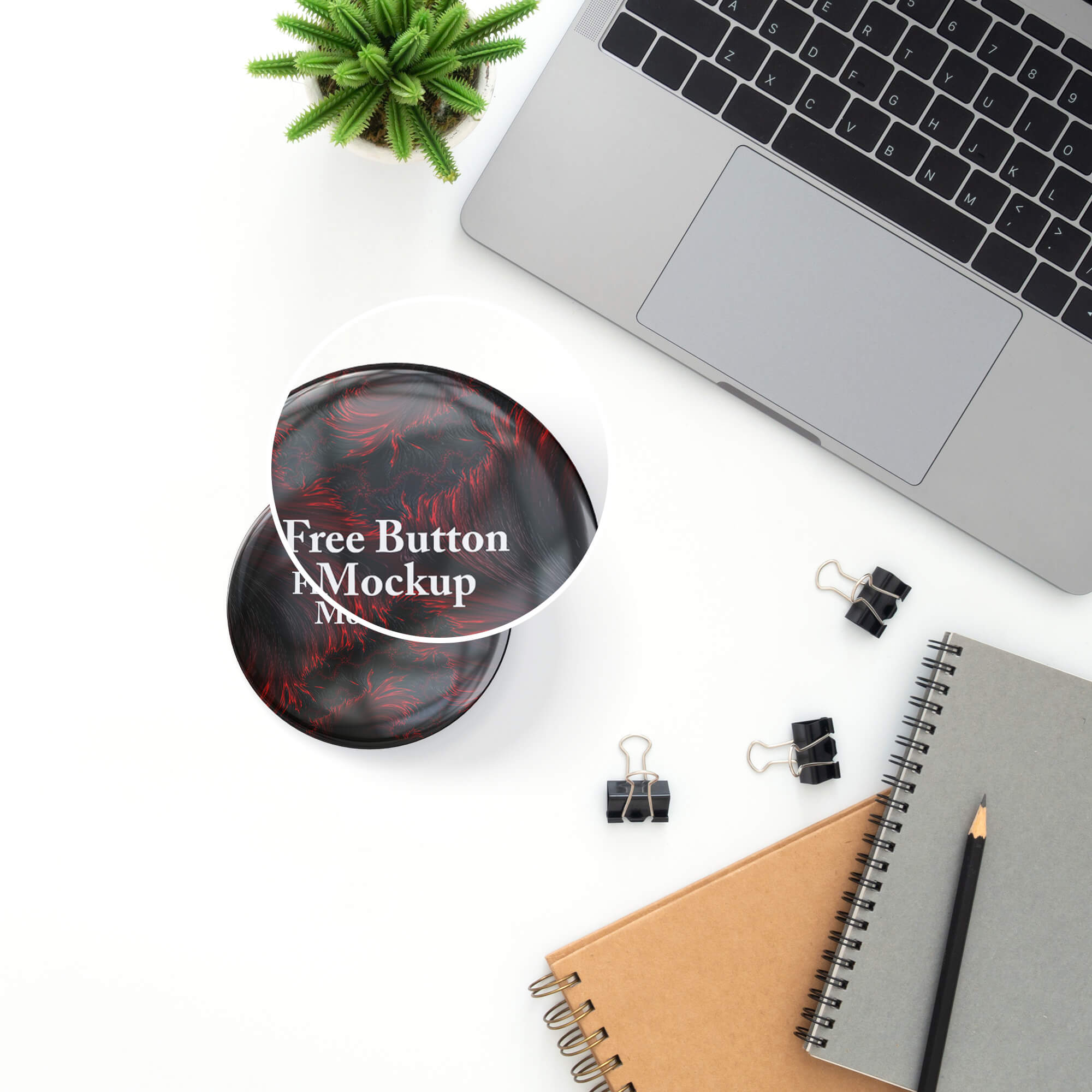 Close Up Of a Free Button Mockup PSD Template