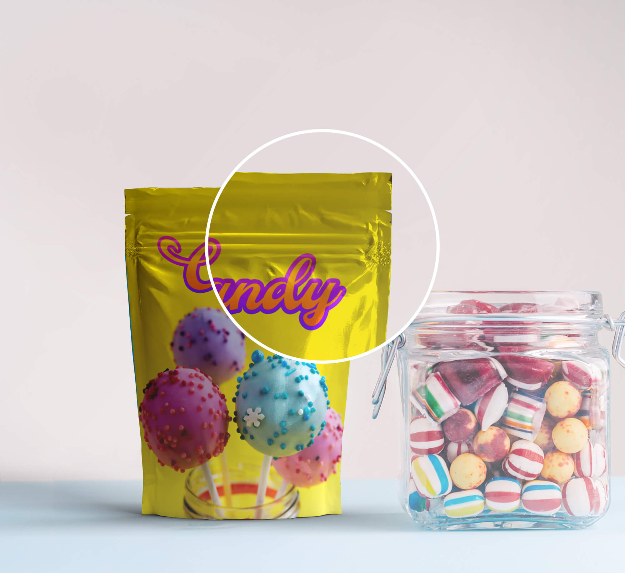 Close Up Of a Free Candy Bag Mockup PSD Template