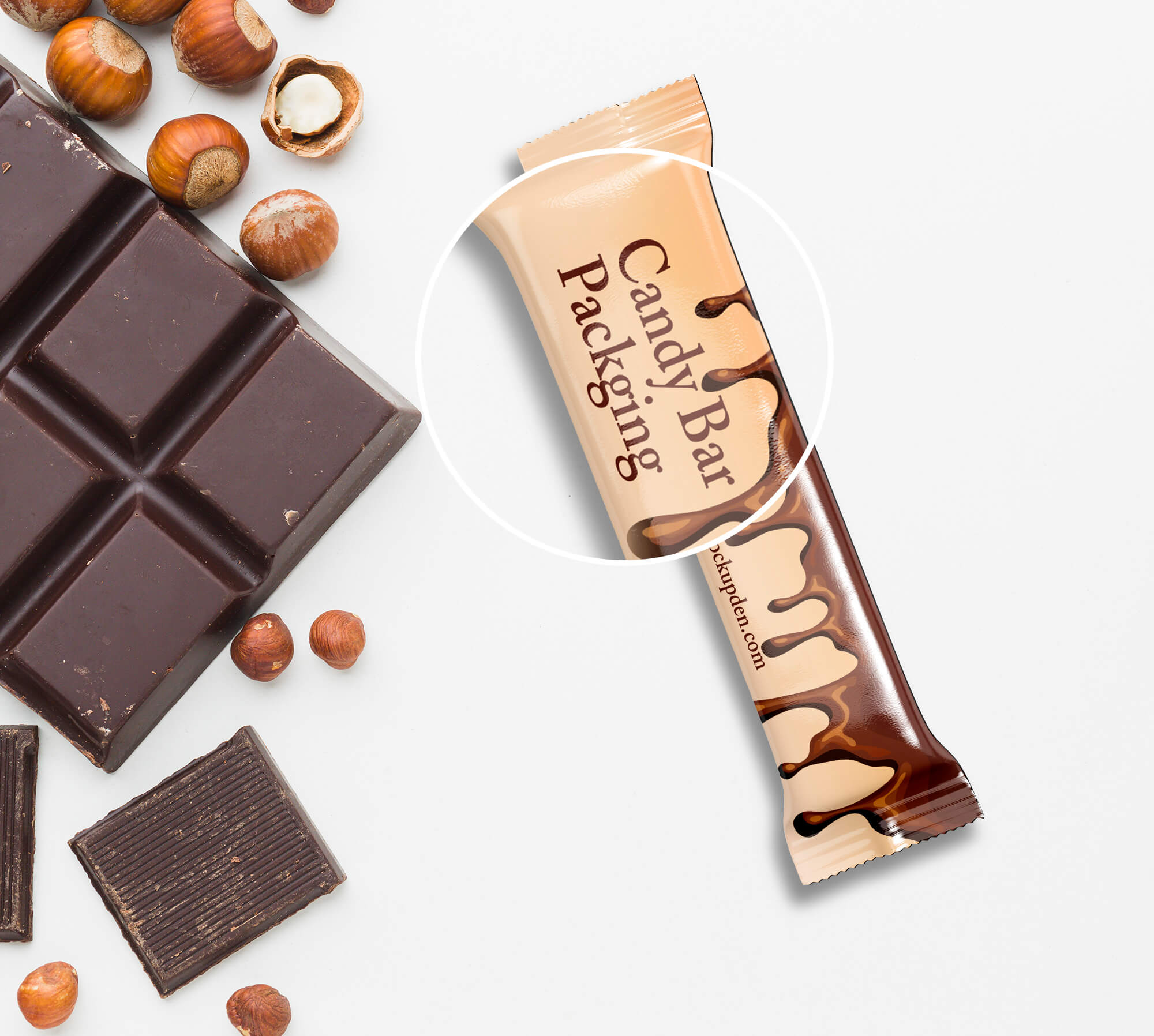 Close Up Of a Free Candy Bar Mockup PSD Template
