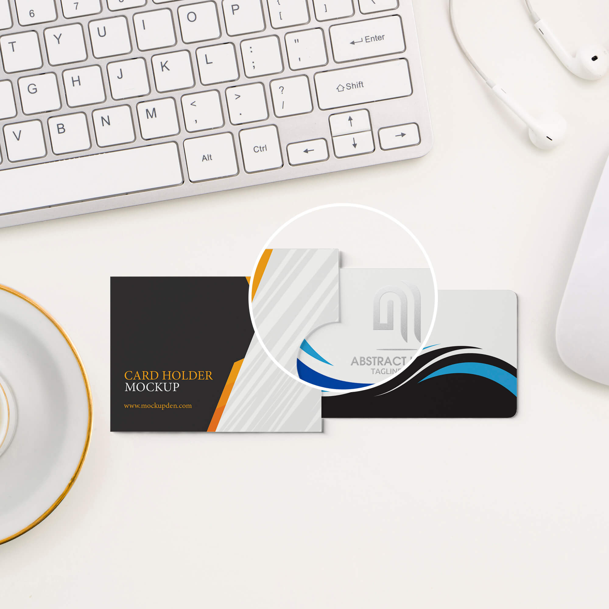 Close Up Of a Free Card Holder Mockup PSD Template