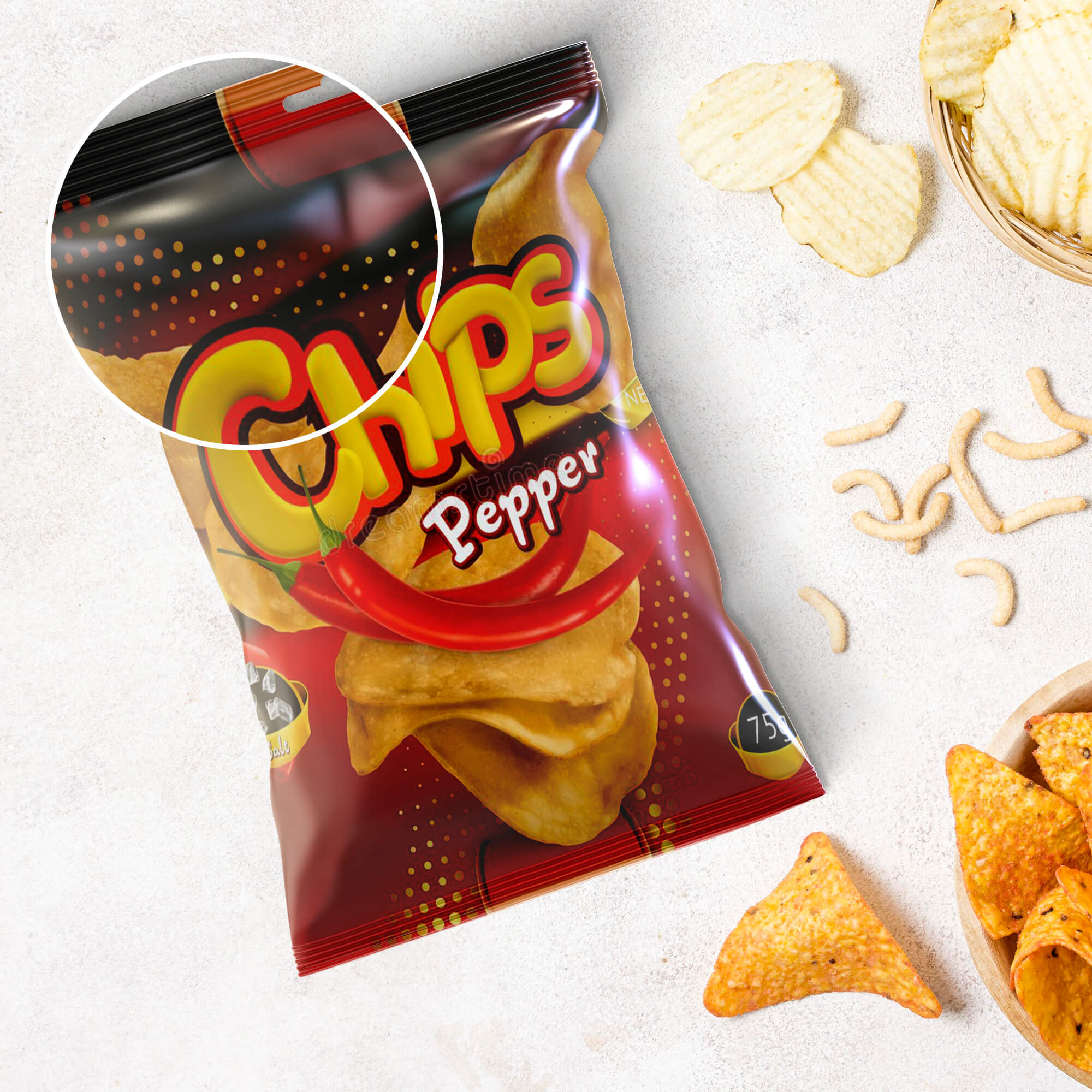 Close Up Of a Free Chips Bag Mockup PSD Template
