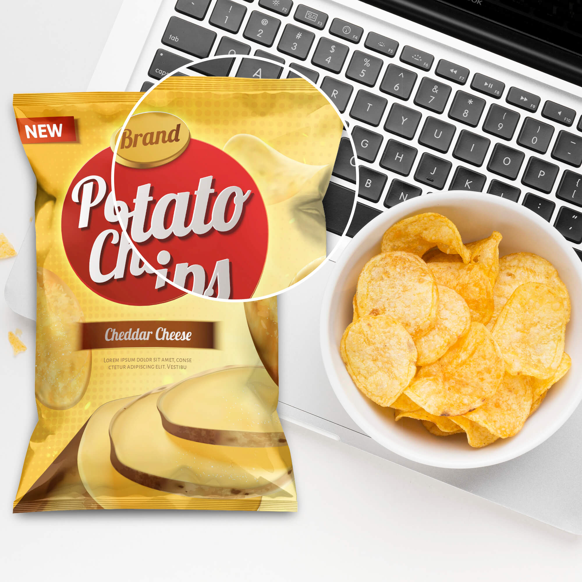 Close Up Of a Free Chips Mockup PSD Template