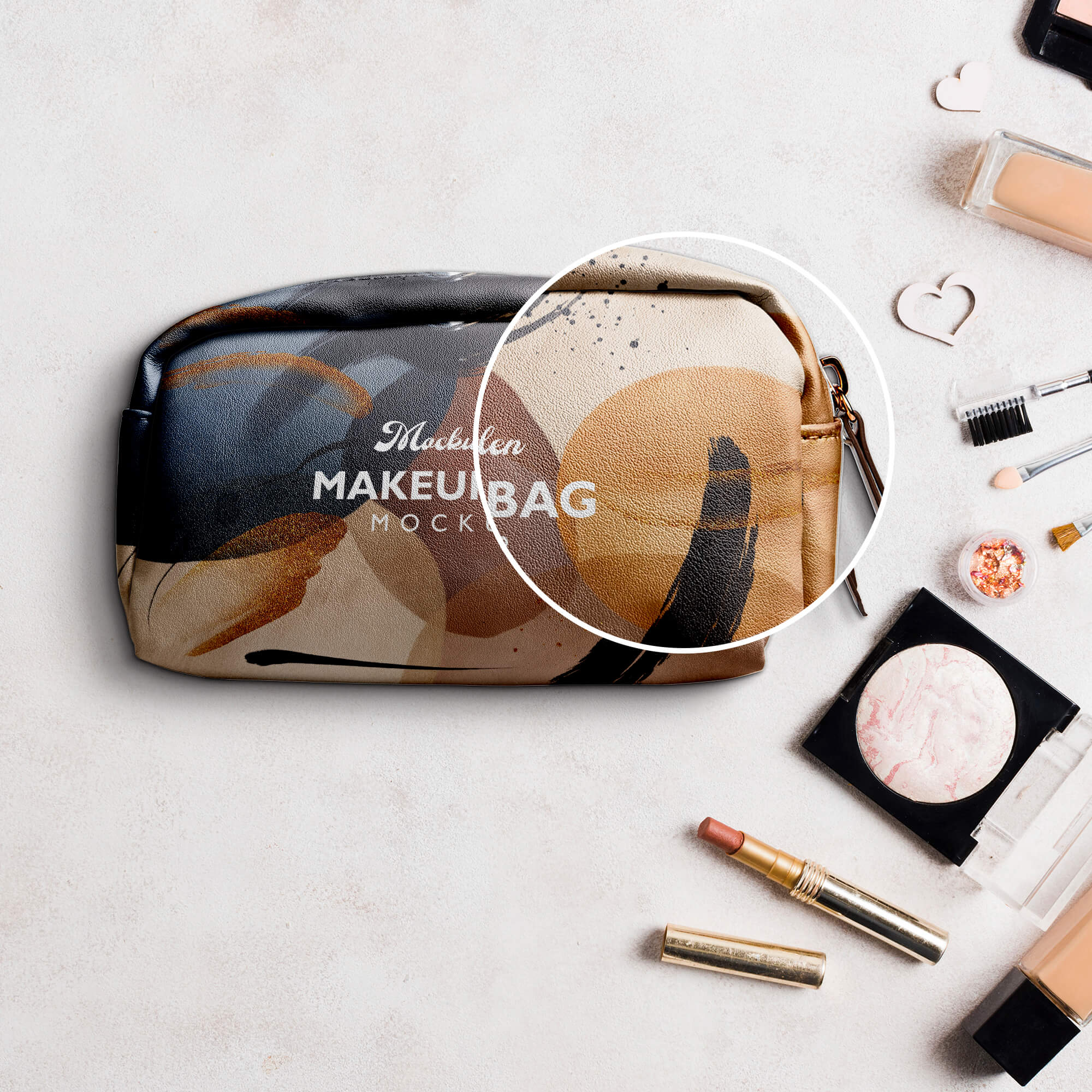 Close Up Of a Free Makeup Bag Mockup PSD Template