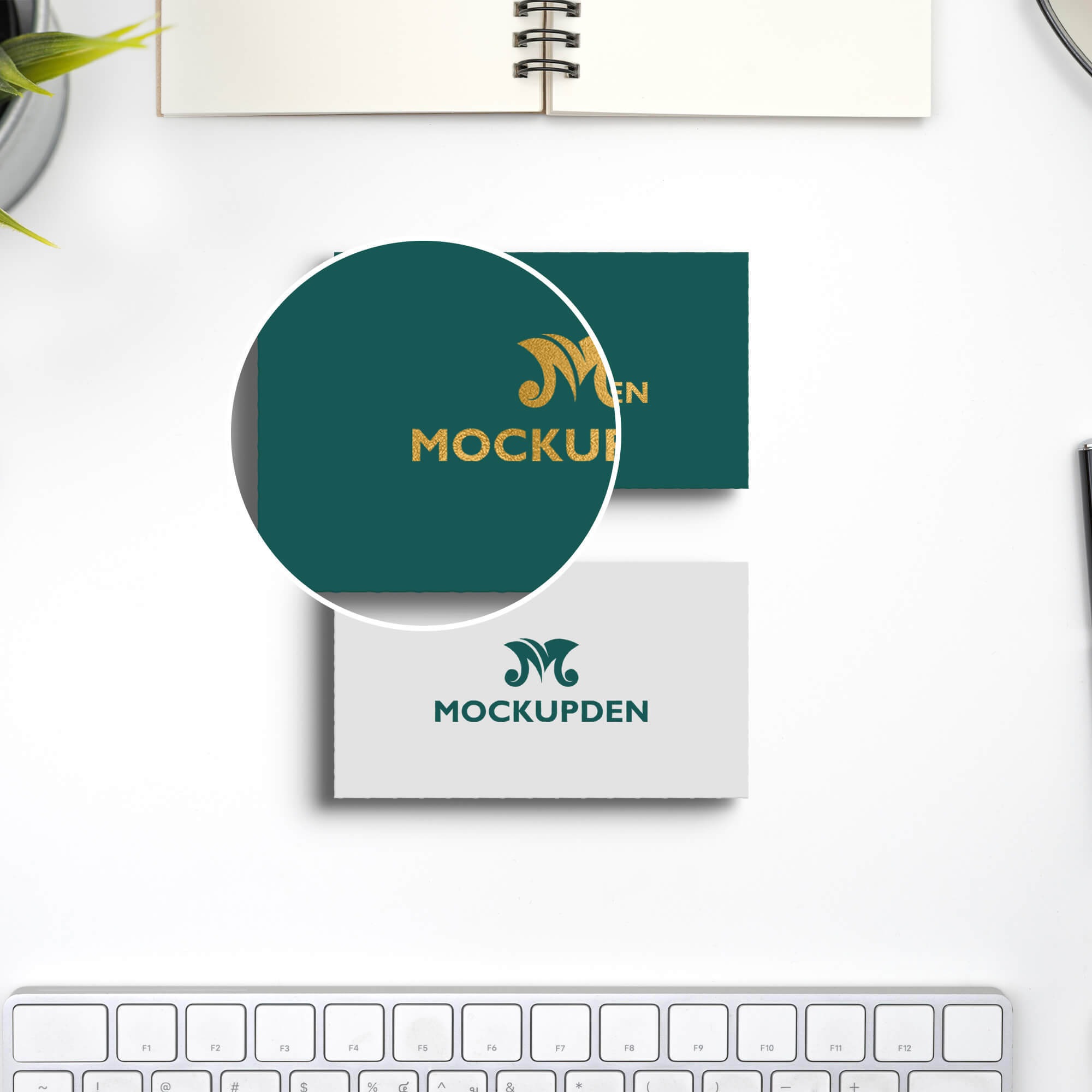 Close Up Of a Free Name Card Mockup PSD Template