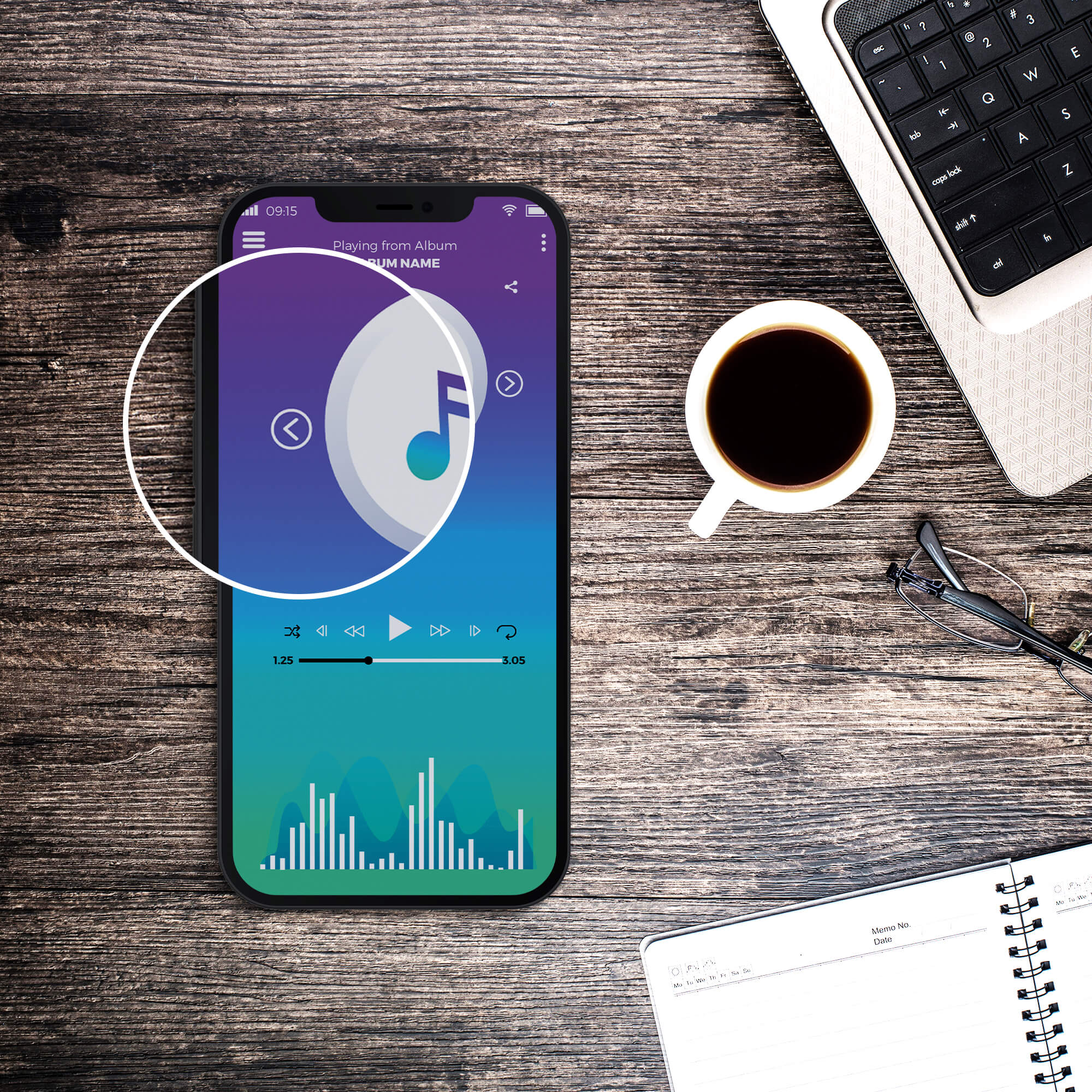 Close Up Of a Free Neon Music App Mockup PSD Template