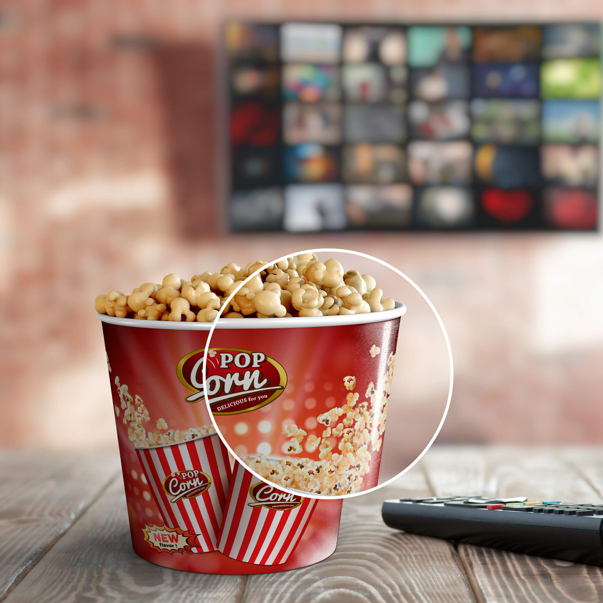 Close Up Of a Free Popcorn Bag Mockup PSD Template