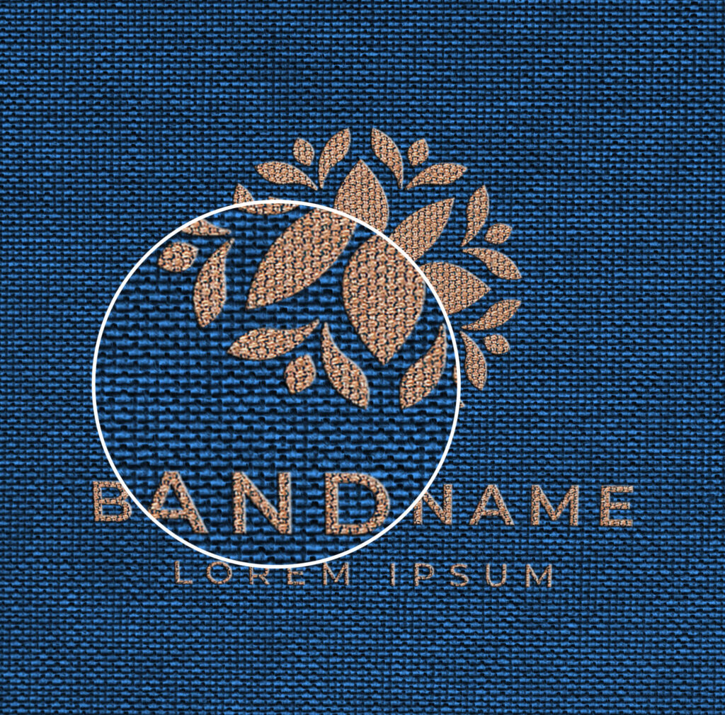 Close Up Of a Free Stitched Logo Mockup PSD Template