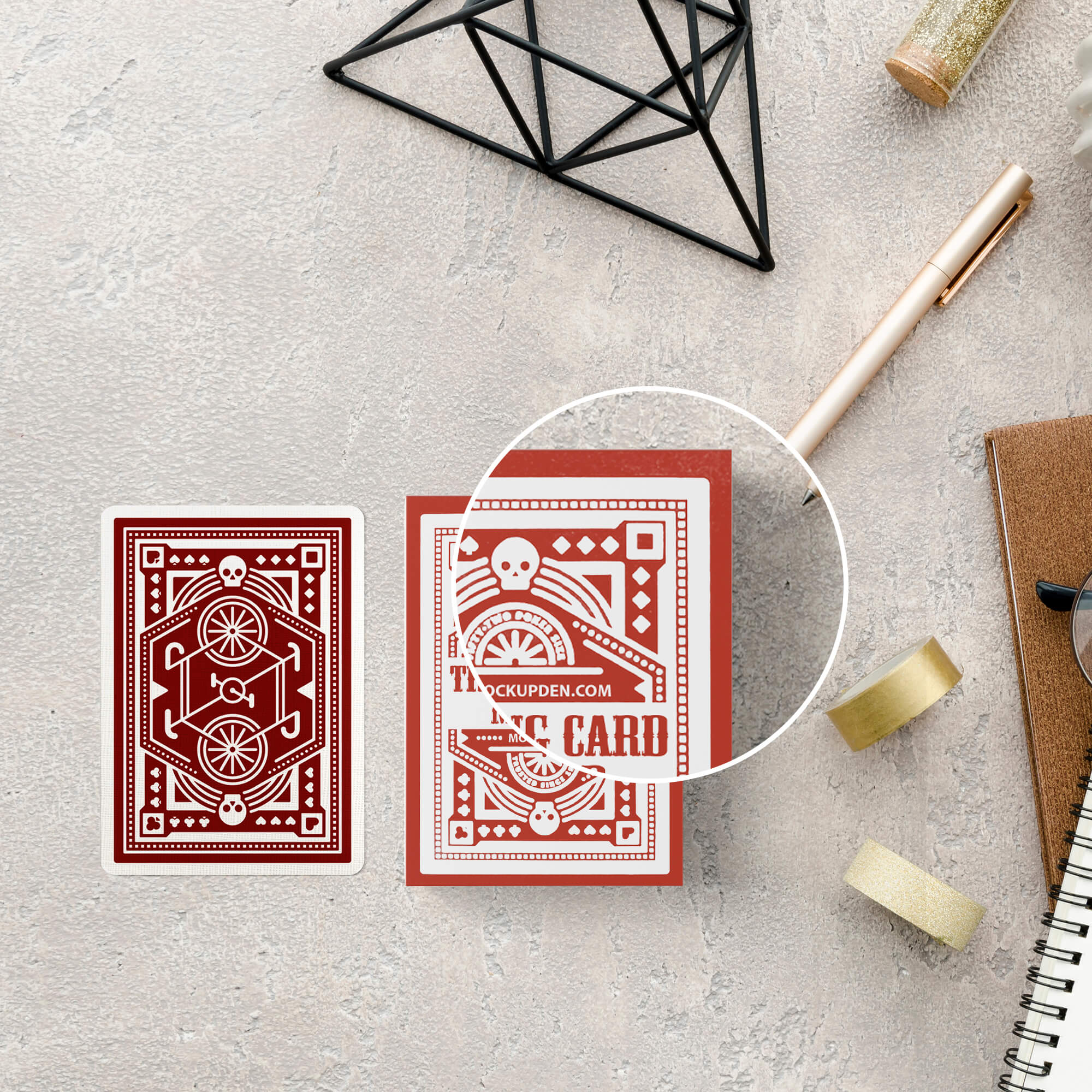 Close Up Of a Free Trading Card Mockup PSD Template