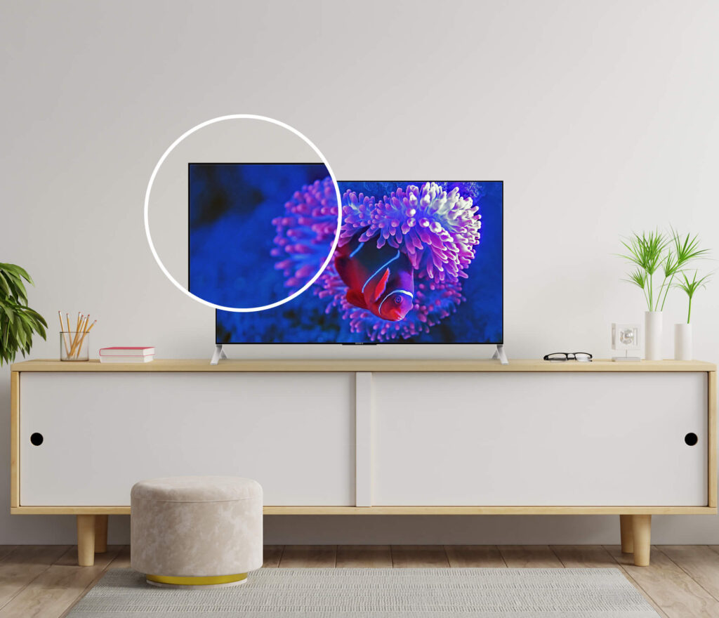 Close Up Of a Free Tv Screen Mockup PSD Template