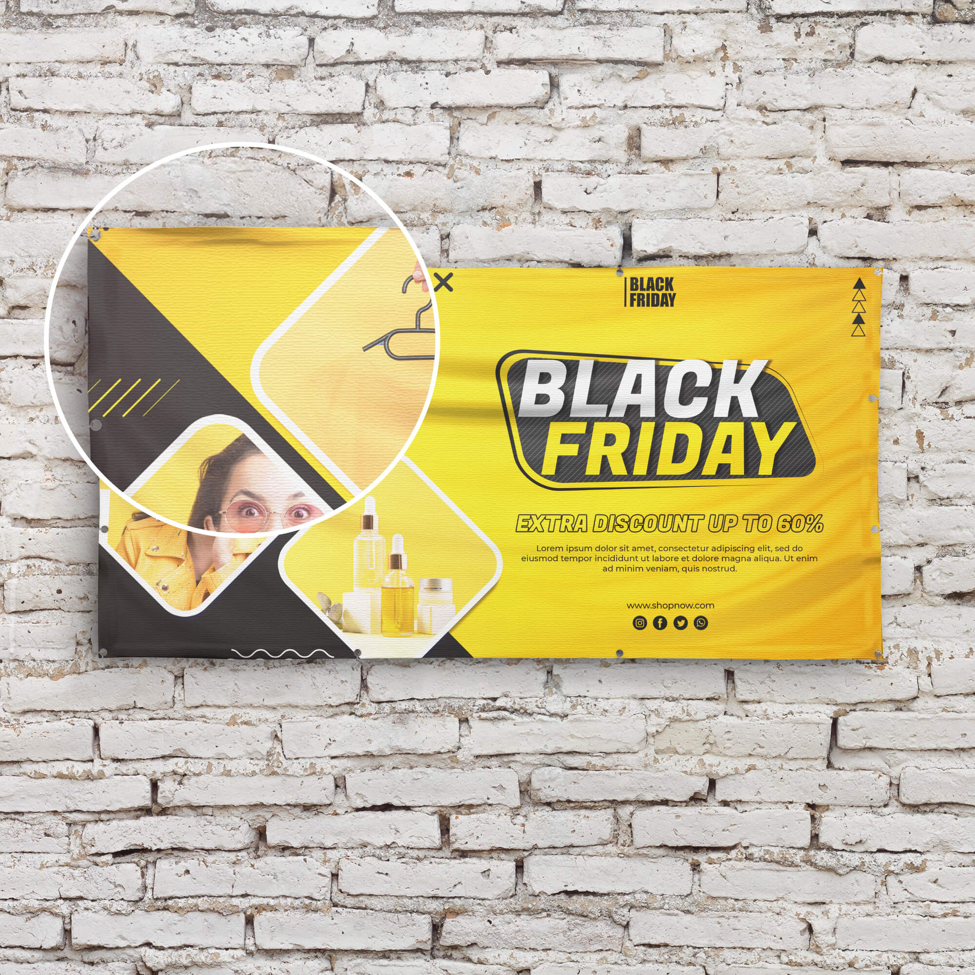 Close Up Of a Free Vinyl Banner Mockup PSD Template