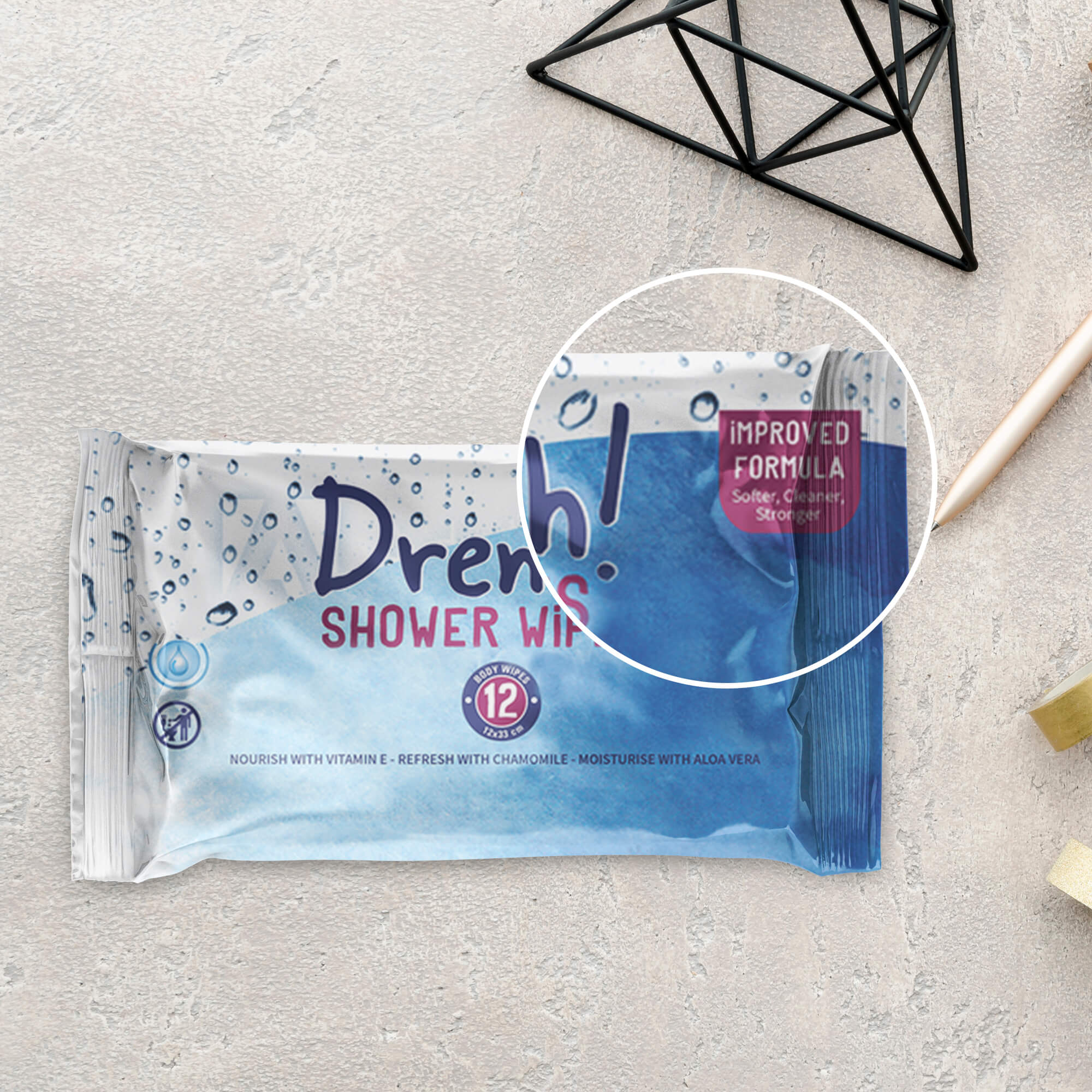 Close Up Of a Free Wet Wipes Mockup PSD Template