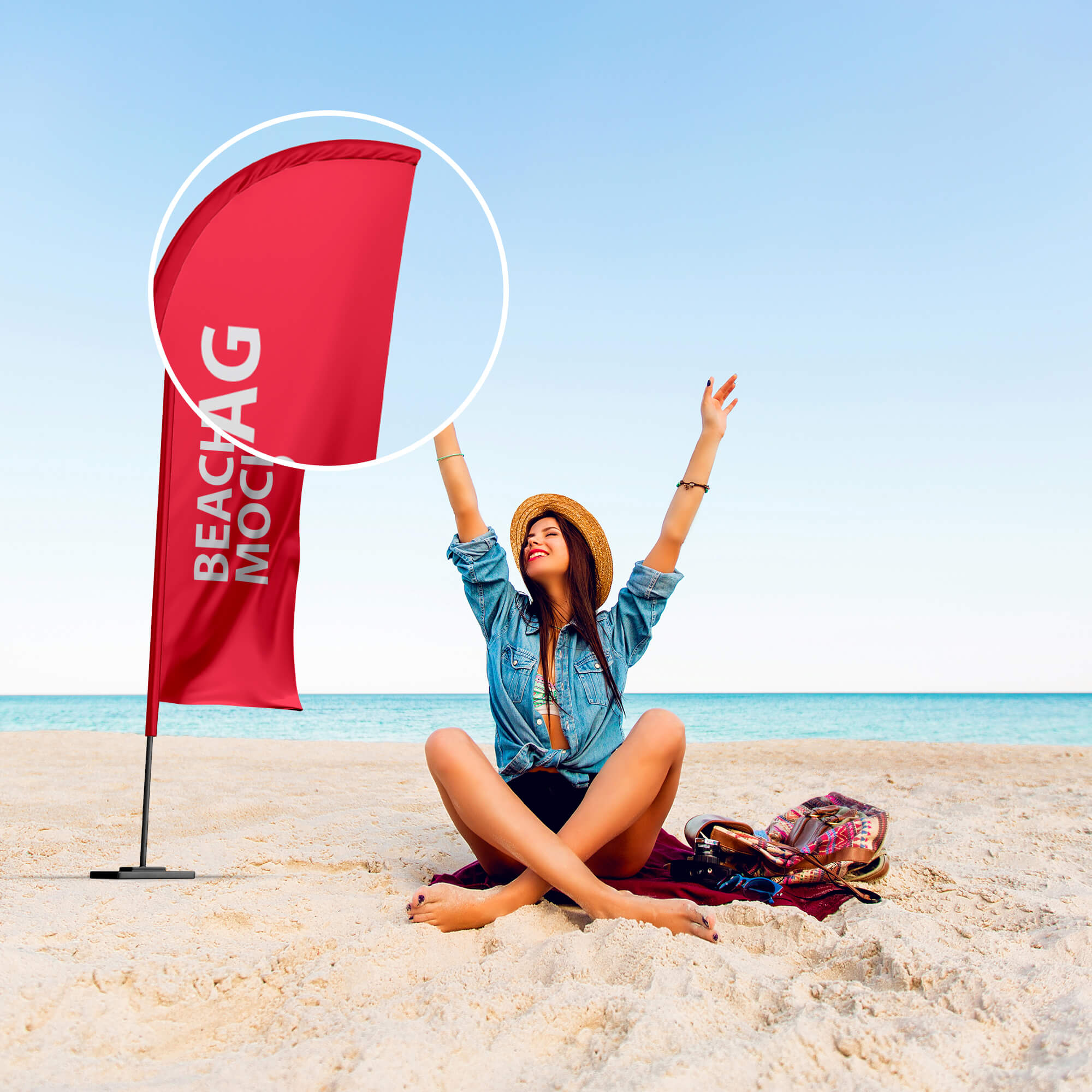 Close Up of a Free Beach Flag Mockup PSD Template